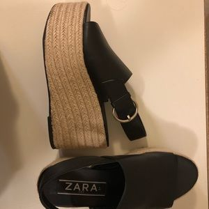Zara platform open toe wedges
